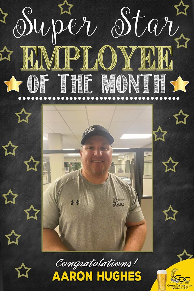 Aaron Hughes Employee of the Month Sept 2021